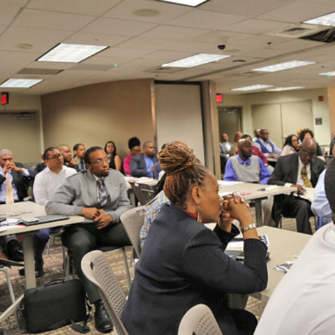 Audience listens at Second Chance at Work event